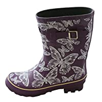 Jileon Half Height Wellies for Women-Widest Fit Boots in The UK-Wide in The Foot and Ankle-Durable Boots for All Weathers (Butterfly 5)