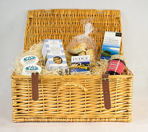 Cornish Cream Tea Hamper With Raspberry Preserve In A Wicker Hamper