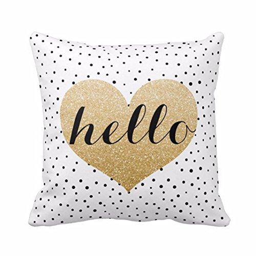 Sunnywill 45cm*45cm Kissenbezug Herz schwarz Punkten Platz werfen Kissenbezug Home Decor ( Kissen ist nicht im Preis inbegriffen )