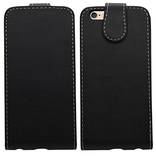 Samrick Leder Flip Schutzhülle für Apple iPhone 6 lila Schwarz