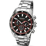 Sekonda Men's Quartz Watch with Black Dial Chronograph Display and Silver Stainless Steel Bracelet 1088.27
