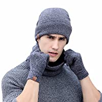 Winter Warm 3pcs for Unisex Adults, uBabamama Soft Knit Beanie Hat O-neck Scarf Gloves Set Best Gift for Friend (Gray )