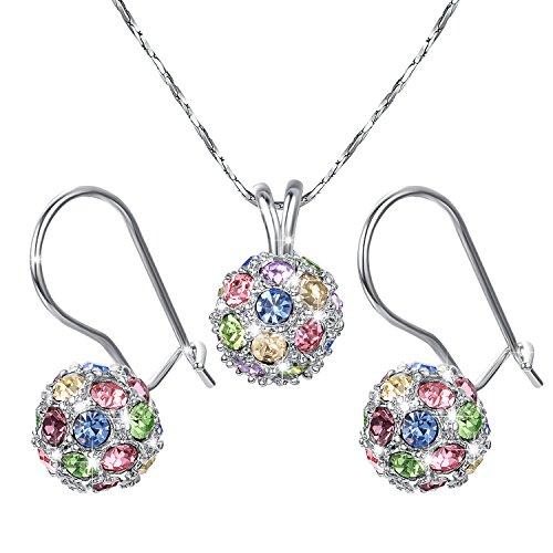 Yoursfs conjunto collar y pendientes Chapado en Oro blanco 18K con Cristales Multicolores para mujeres