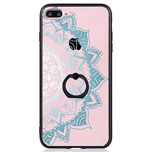 Coque iPhone 7 Plus, TrendyBox Transparent Noir Givré Anti-rayures Rotation Bague Case pour iPhone 7 Plus avec verre trempe film de protection (Bohémien) 1009