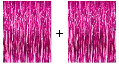 PuTwo Láminas Cortinas 2 Piezas Metálicas Fringe Cortinas Shimmer Curtain Party Supplies Shinny Decoraciones para Fiestas para Bodas de Cumpleaños Navidad