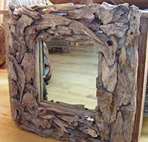 recyclé racine Miroir carré en teck 80cm