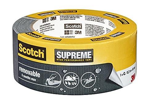 Scotch Gewebeband Supreme, wiederablösbar ohne Rückstände, 48 mm x 18.2 m, grau, Ultra Strong, Duct Klebeband, Panzertape, 41031848