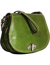 93f74dd6f4c3 Floto Women S Saddle Bag In Green Italian Calfskin Leather - Handbag  Shoulder Bag