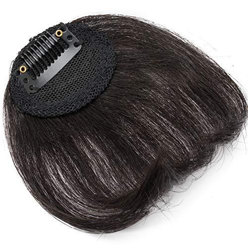 SEGO Clip in Pony Echthaar seitlicher Bangs Haarteil One Piece In Front Hair Stirnfransen Extension Fringe natürliche 100% Remy Haar Schräg Pony ohne Tempel-10g Schwarz#1