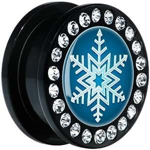 Acrylique Noir Flocon de neige Plug à visser Paire 20mm