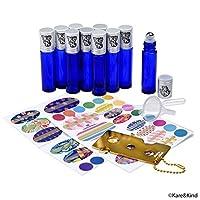 Kare & Kind Essential Oil Bottle Kit - 10xEssential Oil Bottle (1/3 oz - 10 ml), 1xTool for Opening/Sealing Bottles, 78x Label, 1x Mini Dropper + 1x Mini Funnel (Cobalt Blue)