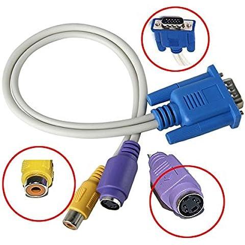 caxico NUOVA convertitore VGA a TV S-Video + RCA cavo adattatore