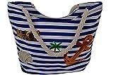 Tasche Strandtasche Shopper Strandshopper mit Patches Badetasche Bag Maritim Umhängetasche Schultertasche mit Streifen Patch AHOI Anker in Verschiedenen Farben Sommertrend(Blau)