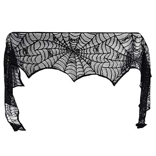 fgghfgrtgtg Halloween-Dekoration Kamin-Mantel-Schwarz-Spitze Spiderweb Schal Abdeckung Festliche Party Supplies -