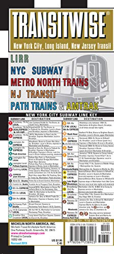Transitwise New York, New Jersey Metro Transit Map: Lirr NYC Subway Metro North Trains NJ Transit Path Trains & Amtrak (Michelin Transitwise Maps) -