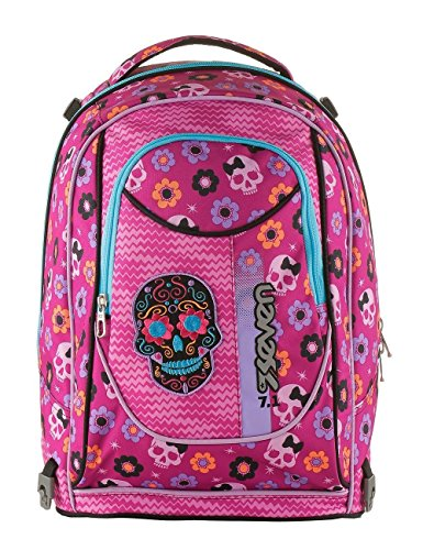 Trolley bambina scuola seven mexi girl 201001842 rosa teschio messicano scuola elementare zaino 35litri sganciabile dal trolley 50x38x26cm