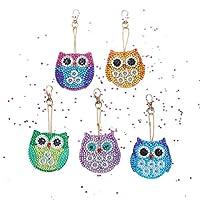 5D DIY Diamond Keychain Cartoon Keyrings 5 pcs Little Owls Key Chain Set Full Diamond Drill Needlework Diamond Crystal Embroidery Accessories for Handbag Backpack