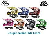 Casque moto enfant WULF FLITE-EXTRA ENFANTS CASQUE Moto Quad MX VTT Sports hors route Casque ECE + X1 Lunettes noires (rose, L)
