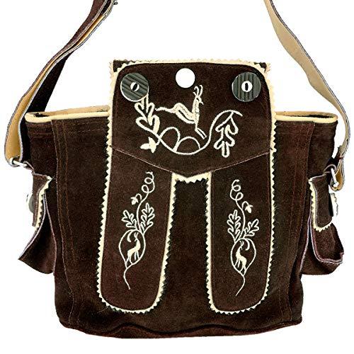 Trachtentasche Dirndltasche Lederhosen-Tasche Umhängetasche Leder Dunkelbraun