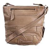 Imya von RICANO, Damen Ledertasche / Handtasche / Umhängetasche aus Lamm Nappa Echtleder in verschiedenen Farben (Cognac Braun und Beige / Taupe) (Beige)