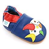 Dotty Fish weiche Leder Babyschuhe mit rutschfesten Wildledersohlen. 2-3 Jahre (25 EU). Heller Blauer Schuh mit mehrfarbigem Fisch Design. Jungen und Mädchen. Kleinkind Schuhe.