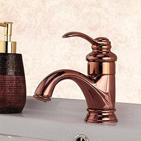 QNQA bad, toilette, hahn, kupfer, warmen und kalten badezimmer, retro - hahn, europäischen stil gold - topf unter den mund, rosenwasser, goldene wasserhahn, (Land Badezimmer-hahn-)