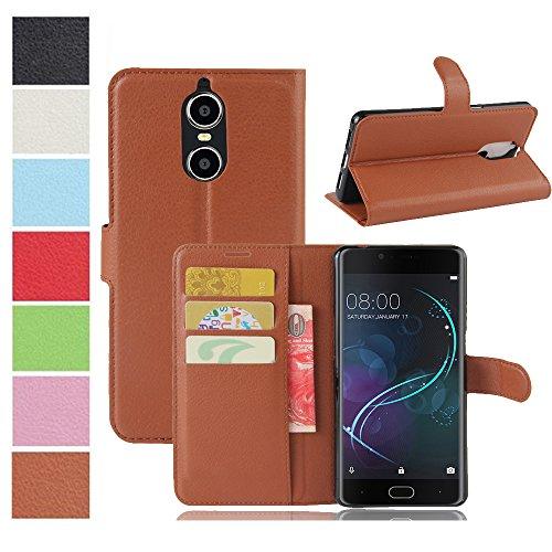 MaxKu DOOGEE Shoot 1 Hülle, Premium PU Leder Mappen Kasten für DOOGEE Shoot 1 Smartphone, Braun