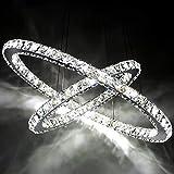Oudan Deckenleuchte Kristall, Kristall-Kronleuchter von Diamond Ring Edelstahl LED-Leuchten Crystal Chandelier Adjustable Flash (Farbe: Weiß, 30 cm). (Farbe : Cool White Light-30cm)