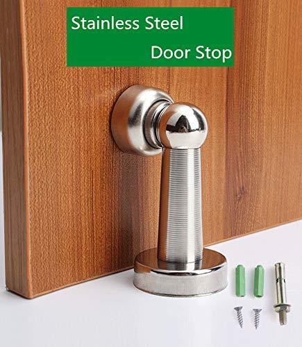 Aliaoforz Silver Stainless Steel Door Stopper Soft-Catch Magnetic Door Stop in Brushed Satin Nickel Wall Mount by Lizavo - Brushed Nickel Door Stop
