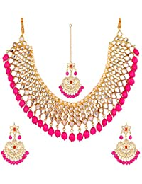 Gemsjewellery Real Jaipuri Kundan High Gold Plated Fancy Party/Wedding Wear Pink Kundan Beaded Necklace Set For...
