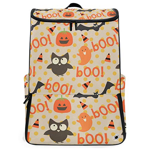 Fantasio Laptop-Rucksack für unterwegs, Gruselig, Halloween, Boo, langlebig, für Schule und Schule, für Outdoor, Camping, passend für bis zu Notebook
