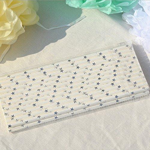 Bearcolo 25 Stück biologisch abbaubar Trinkhalme Party Hochzeit Dekoration Papierhalme Bulk Silber und Gold gestreift Papier Saugnapf