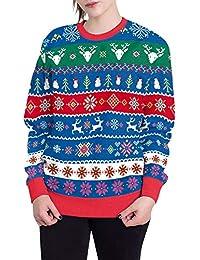 SEWORLD Weihnachten Vintage Christmas Damen Frohe Weihnachten Große Größe O-Ausschnitt Santa Pullover Gedruckt Langarm Hoodie Sweatshirt Pullover Top