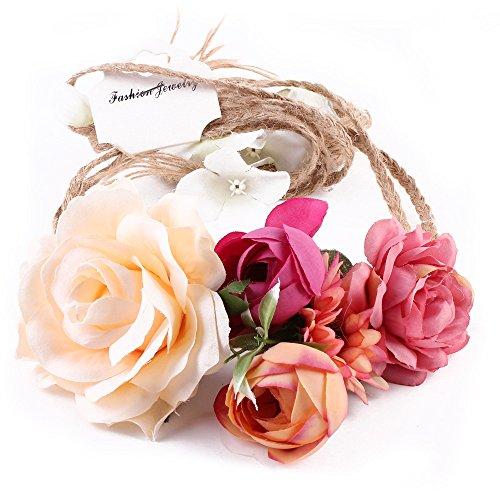Tukistore Nupcial Guirnalda Tocado Playa Accesorios para el Cabello Tocado Nupcial Vendas del Pelo Diadema de la Flor