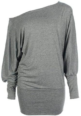 Womens PLUS SIZE Batwing Top Plain Long Sleeve Off Shoulder Big Size Tshirt Top 16-26 (24-26 XXXL, Light Grey)
