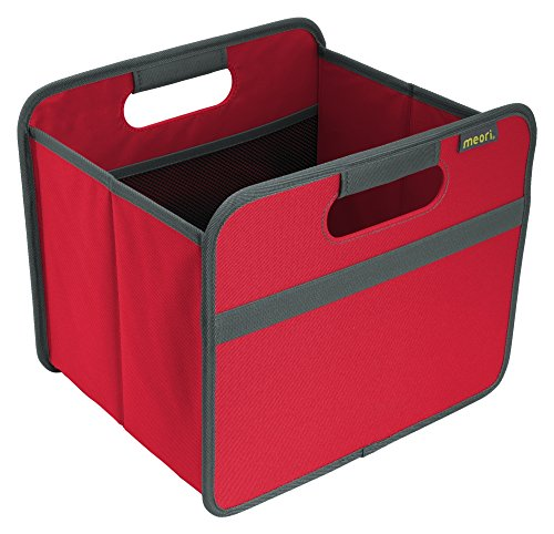Meori Faltbox Classic Small Hibiskus Rot/Uni 32x26,5x27,5cm stabil abwischbar Polyester Premium Wohnen Dekoration Einrichtung Möbel Sortierung Regal Aufbewahren Verstauen Ordnungssystem