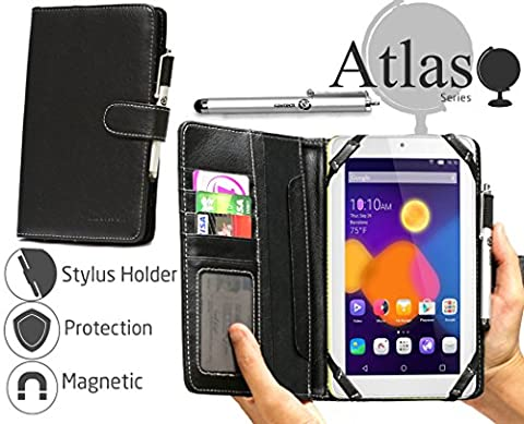 Navitech Black Faux Leather Book Style Case Cover & Stylus Pen For The Alcatel OneTouch Pixi 3 7