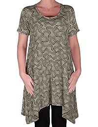 EyeCatch - Faith Womens Long Tunic Flared Uneven Hem Print Ladies Short Sleeve Top Plus Sizes 14 - 28