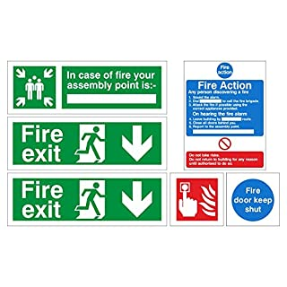 Fire exit safety sign pack. 1 x Fire Action Sign , 1 x Fire Assembly Point Sign, 2 x Fire Exit Signs, 1 x Fire Alarm Sign and 1 x Fire Door Sign. (Self Adhesive)