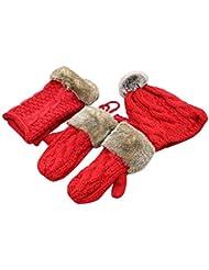 [Red] Les femmes d'hiver Trois ensembles de gants et foulard et un chapeau