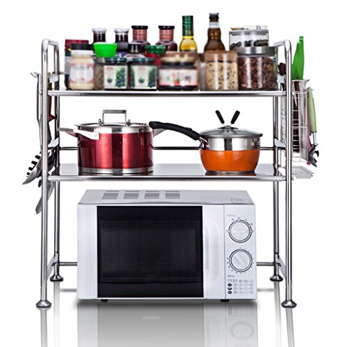 Anna Étagères de Cuisine Acier Inoxydable Four à Micro-Ondes grilles de Cuisine Multi-étages Table Vinaigrette Riz cuiseurs Rack (Couleur : Style-2, Taille : 58cm)
