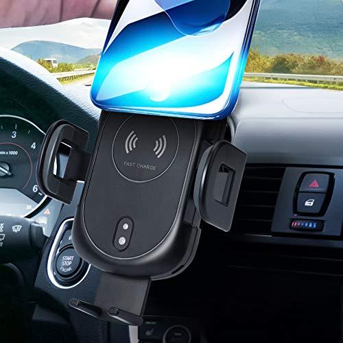 Wireless Charger Auto Handyhalterung Automatisch 10W Kfz Induktive Ladestation 2 in 1 mit Lüftung & Saugnapfshalter mit Infrarot-Sensor für iPhone XS/XS Max, Samsung Galaxy Note 8/9 Qi Fähige Geräte -