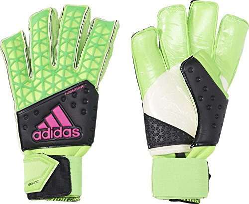 adidas Herren Torwarthandschuhe Ace Zones Fingersave Allround, Solar Green/Core Black/Shock Pink S16/White, 11.5, AH7807
