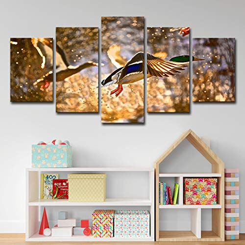 Leinwand -Malerei Wohnzimmer -Wand -Kunst -Bilder 5 Stück Tier Wilde Enten -Jagd -Landschaft Poster Hd Drucke Wohnkultur 5p0683 kein Rahmen L: 12X18-2P12X24-2P 12X30-1PZoll -