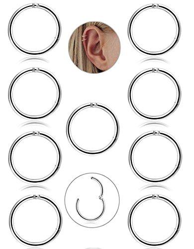 BESTEEL 9 Pcs 16G en Acier Inoxydable Nez Piercing Hoop Boucles d'oreilles pour Les Femmes Filles Anneau Nez Piercing Septum Lèvre Corps Bijoux 8mm