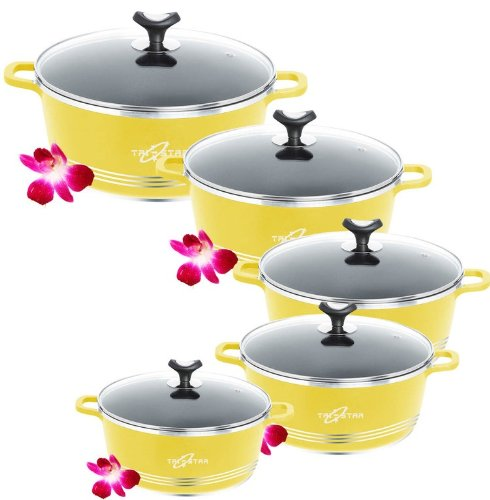 Tri Star Supreme 10pc Die Cast Non Stick Aluminium Cookware Casserole Set 20-32cm (Yellow)