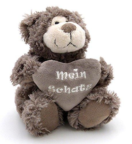 (Süßer Plüsch Teddy Bär grau mit Herz - Mein Schatz - Freundschaft & Liebe - Süße flauschige Geschenkidee)