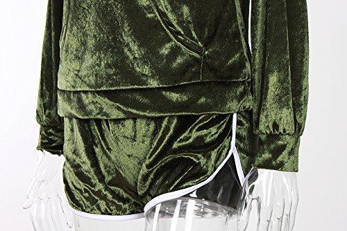 Femme Sweat Sweat A Capuche Manche Longue Avec Short 2 Pièces Ensembles Mode Casual Automne Hiver Sweats À Capuche Survêtement Courte Pantalon Pantalons Shorts Combishort Vert