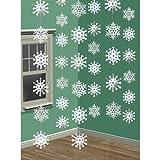 6 cordeles con copos de nieve, decoración navideña