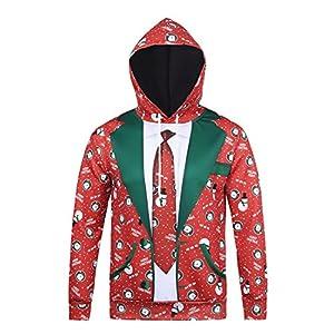 Honeystore Herren Damen 3D Druck Sweatshirts Weihnachten Pullover mit Aufdruck Herbst Hemd Kapuzenpullover Langarm Top Jumper Shirt